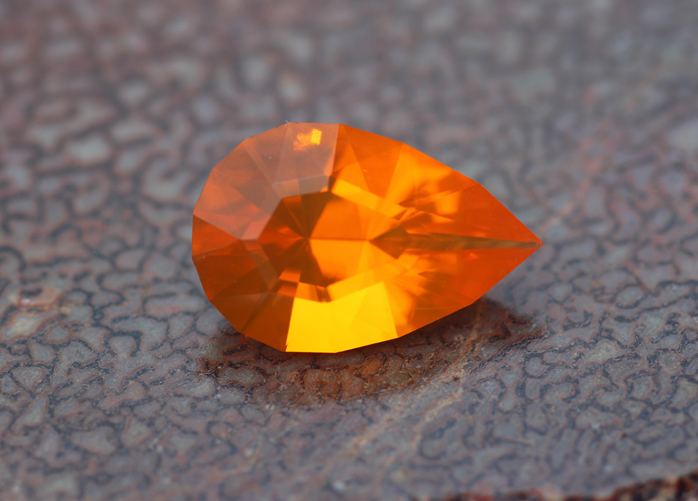 Mexican Fire Opal Pear Custom USA Cut