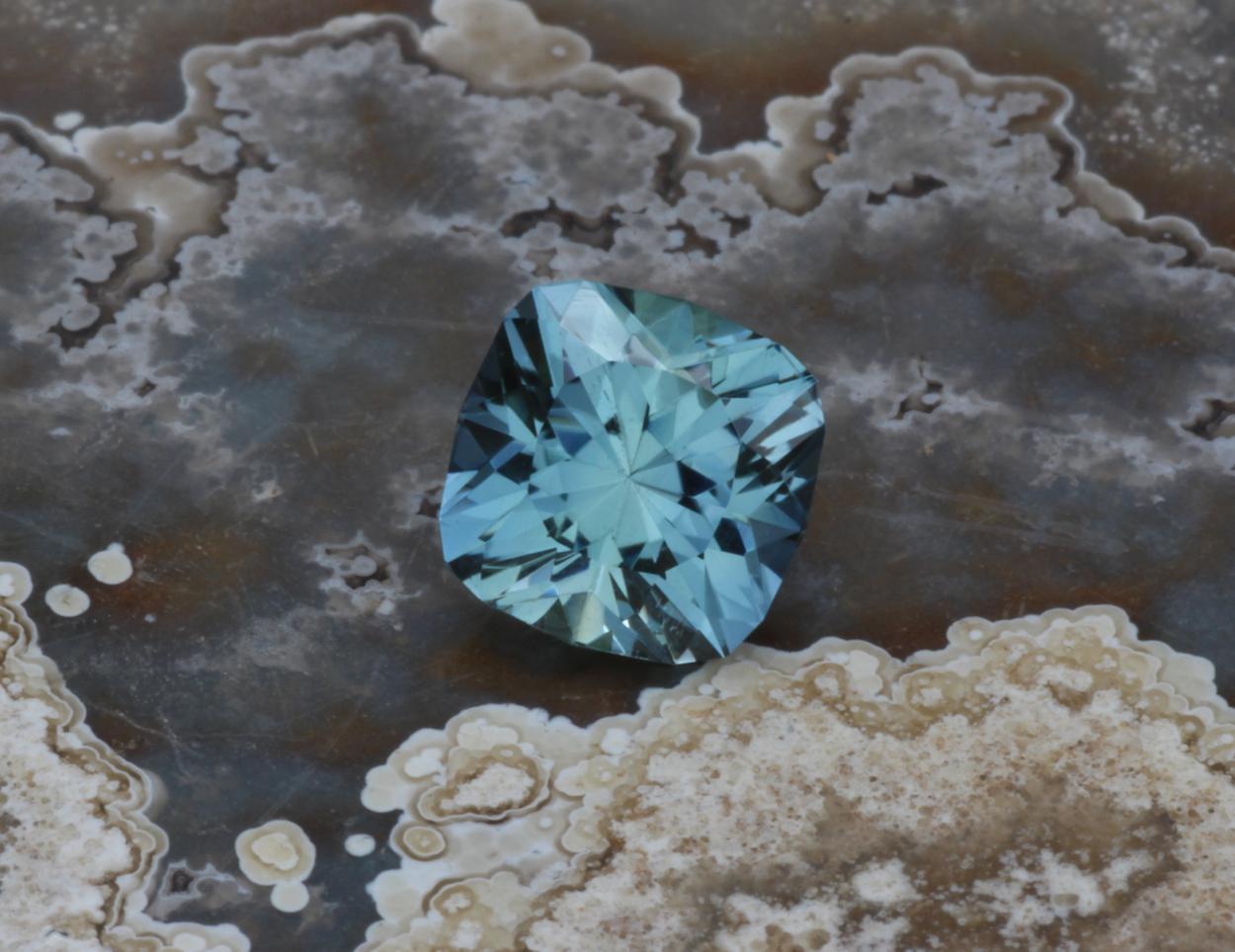 Blue Green Montana Sapphire Unheated Precision Cut Cushion