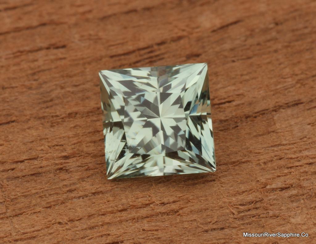 Unheated Mint Green Montana Sapphire, Princess Cut